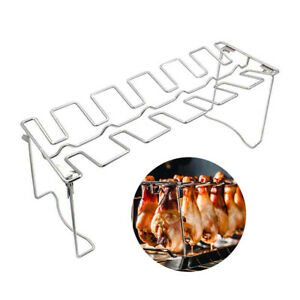 Chicken Wing Leg Rack Grill Holder With Drip Pan For BBQ Barbecue Accessories