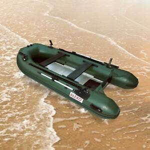 ALEKO Inflatable Fishing Boat 12.5 Feet with Aluminum Floor Green Color