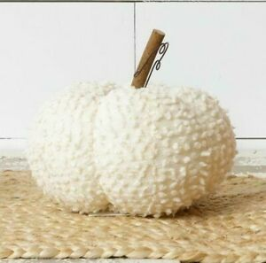 Pumpkin WHITE Halloween Harvest Soft Chenille Fall 5quot;x7quot; Farmhouse Chic Country $9.78