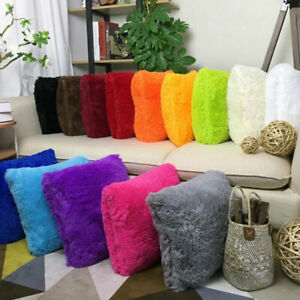 Fluffy Fur Plush Pillow Case Shaggy Home Sofa Decor Soft Cushion Cover Throw $3.79