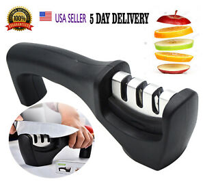 KNIFE SHARPENER PROFESSIONAL Heavy Duty Ceramic Tungsten 3 Stage Chef Black Box
