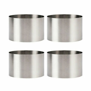 4PCS Cookie Fondant Baking Stainless Steel Mold Mousse Cake Ring Round 8*8*5cm