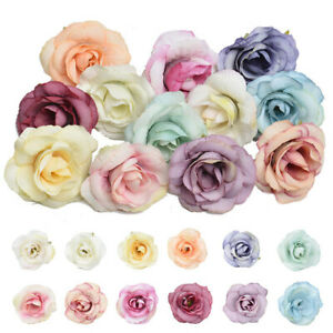 50 X Artificial Rose Heads Flower Silk Bulk Party Wedding Fake Bouquet Decor