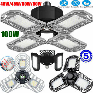 E26 / E27 LED Garage Light Bulb Deformable Ceiling Fixture Lights Workshop Lamp