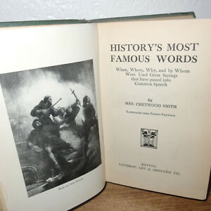 History#x27;s Most Famous Words book by Mrs Chetwood Smith *Famous Art Illustrations $4.00