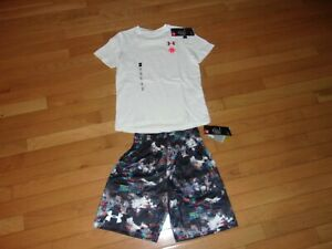 NWT YOUTH BOYS SMALL UNDER ARMOUR SHORTS AND TEE 7 8 $18.99