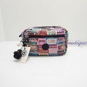 NWT Kipling AC8278 Amalfi Toiletry Bag Cosmetic Case Nylon Hello Weekend Multi