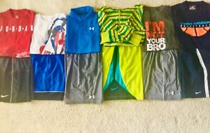 Lot 12 Boy's UNDER ARMOUR NIKE Dri Fit T Shirts Athletic Shorts $138.99