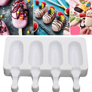 4 Cell Large Silicone DIY Frozen Ice Cream Mold Juice Popsicle Ice Pop Maker