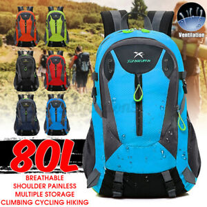 80L Large Outdoor Hiking Backpack Travel Camping Cycling Outdoor Waterproof Bag $18.61