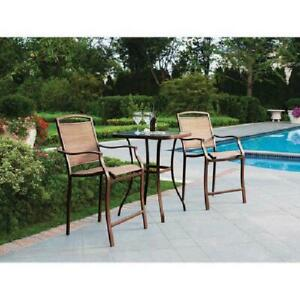 Small Outdoor Bistro Set High Top Table Chairs Cushions Patio Furniture Dining