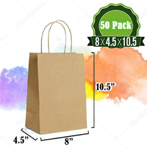 Brown Paper Gift Kraft Bags Bulk Twist Handles 50Pcs Durable Multiple Uses New
