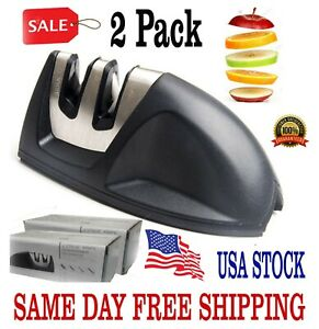 KNIFE SHARPENER PROFESSIONAL Heavy Duty Ceramic Tungsten 2 Stage Chef Black Box
