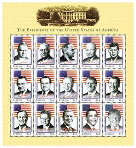 Liberia 2017 Presidents Hoover through Donald Trump Sheetlet of 15 MNH