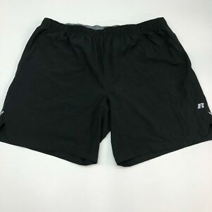 Russell Athletic Dri Power 360 Active Shorts Mens 2XL Black Training Fit Workout $18.95