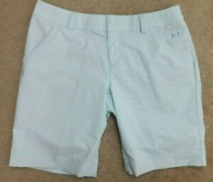 Under Armour Performance Womens Size 8 White Blue Golf Shorts Stripes 10 Inseam $8.99