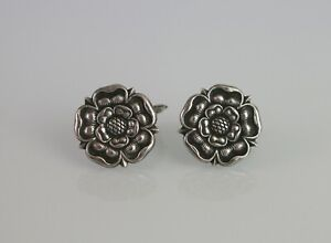 Rare Antique Norwegian Norway Henrik Moller 830 Silver Trondheim Rose Cuff Links