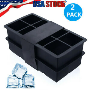 2x CUBED ICE Maker Large Cube Square Tray Molds Whiskey Ball Cocktails Silicone