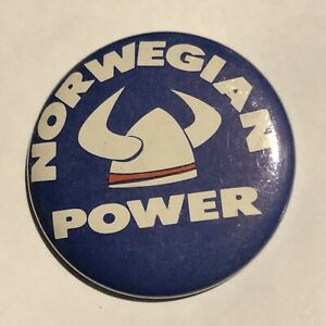 Norwegian Power PurpleVikings Helmet Pinback Button Pin 2 1 4""