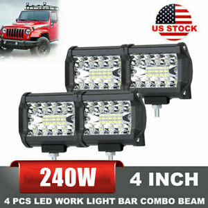 4PCS 4quot;Inch 12V 1200W LED Work Light Bar Flood Pods Driving Off Road Tractor 4WD $28.97