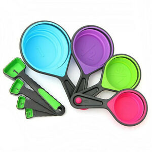 8pcs Silicone Measuring Cups Set Spoon chen Tool Collapsible Baking Cook