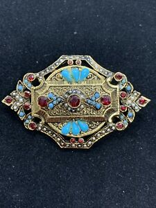 Vintage Signed ART Victorian Style Red Rhinestone Blue Pearls Brooch 2.5 Inches $45.00