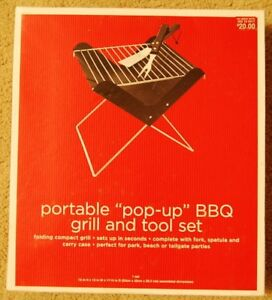 New in Box Portable Pop-up Barbecue BBQ Grill and Tool Set  Folding compact gril