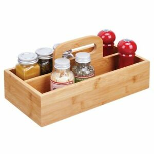 mDesign Bamboo Food Storage Container - Carrying Handle for Kitchen, Natural