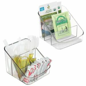 mDesign Small Plastic Kitchen Food Packet/Pouch Organizer Caddy, 2 Pack - Clear