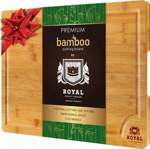 EXTRA LARGE Organic Bamboo Cutting Board Juice Groove Kitchen AntiMicrobial Tray