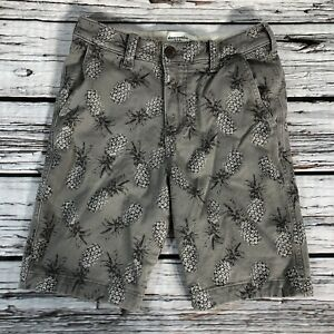 Abercrombie Kids Shorts Youth Boys 13 14 Gray Chino Pineapples $7.86