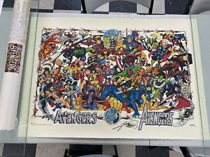 SIGNED George Perez 1994 MARVEL LIMITED Avengers LITHOGRAPH Poster Print in TUBE $599.99
