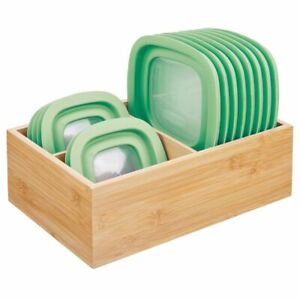 mDesign Bamboo Wood Kitchen Storage Organizer for Food Container Lids - Natural