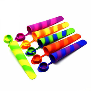 Set of 6 Silicone Ice Pop Molds Multicolored Popsicle Molds with Attached Lids