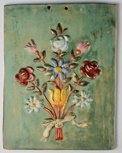 Vintage Hand Painted Flowers Wall Plaque Ceramic Rustic Country Made in Italy