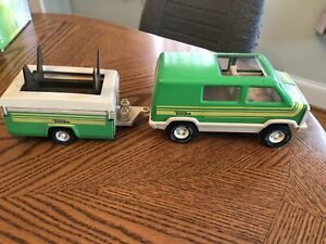 Vintage Tonka Green Van & Pop Up Camper 1970's Camping Toy Mini Van Trailer 0220