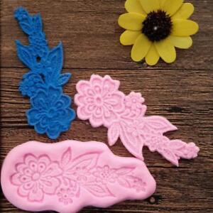 Kitchen DIY Silicone Lace Flower Mat Mold Cake Fondant Mould Baking Tools CF