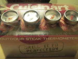 Cuisinart Outdoor Steak 4 pcs Thermometers Gourmet Grilling Stainless Steel dent