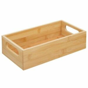 mDesign Bamboo Wood Compact Food Storage Bin with Handle - 4 Pack- Natural