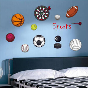 SPORTS BALLS pennant Kids Wall Stickers Decal Football Basketball Soccer