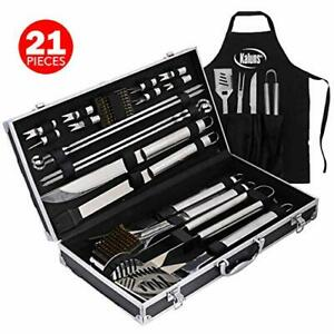 Grill Set, 21 Piece Grilling Utensil Set, Stainless Steel BBQ Tools Accessories