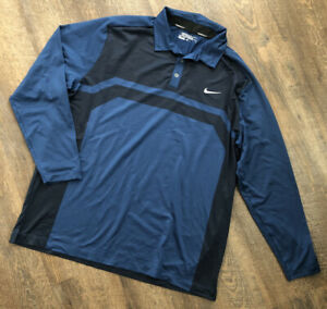 Blue NIKE Golf Dri Fit Long Sleeve Polo Shirt Men's Sz XL Extra Large $29.99