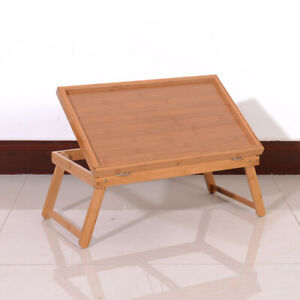 Breakfast Serving Tray Bamboo Desk Bed Tea Food Folding-Lap Dinner TV Table USA