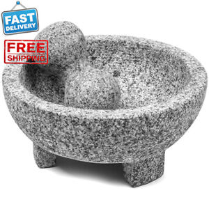 8 Inch Granite Mexican Molcajete Mortar & Pestle Spice Grinder Kitchen Cooking