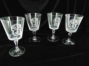 Set of 4 Vintage High Quality Stemmed Wine GLASSES Personalized Crest quot;BROMLEYquot;