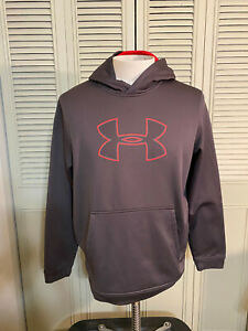 Under Armour Mens Performance Fleece Logo Pullover Hoodie Gray Mens Size Large $14.39