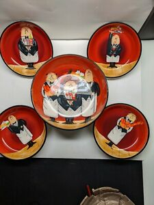 Certified International  beautiful 5 piece Pasta Bowl Set by Tracy Flickinger.