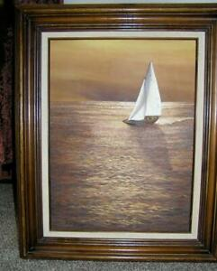 Orig Oil Painting of Sailboat at Sundown Seascape signed by Roberta California $80.00