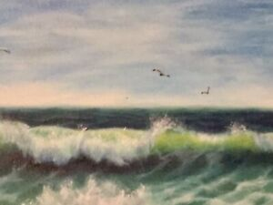 Original Oil Seascape Painting on Canvas-Realistic-Colorful-20x10-Artist Signed  $80.00