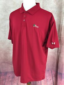 Under Armour Golf Polo Short Sleeve Stretch The Pines Red Shirt Men's L $20.22